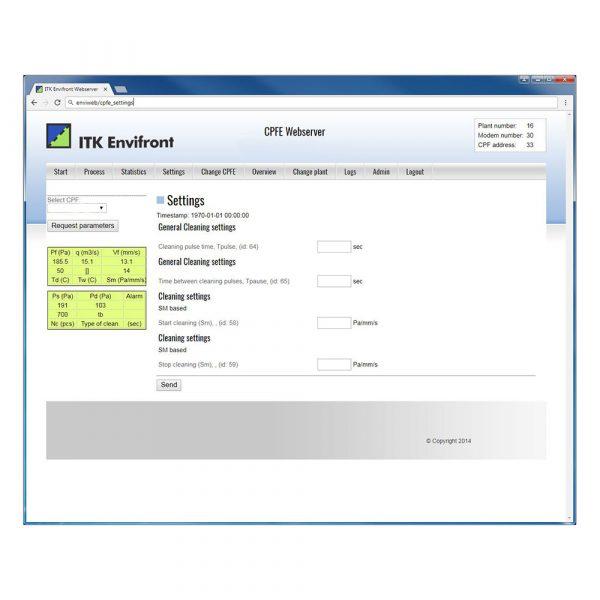 Inställningar från webservern Enviweb för CPFE filterstyrning