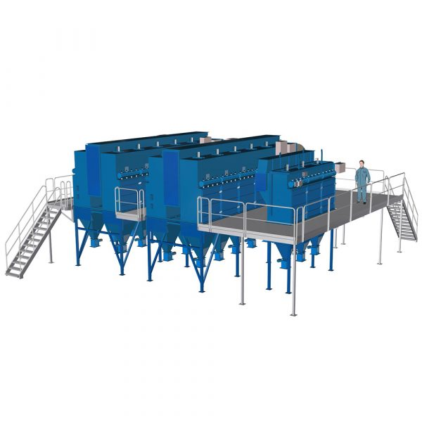 Komplett installerad filteranläggning med två PFMG-22 huvudfilter och ett PFMG-52 stoftfilter
