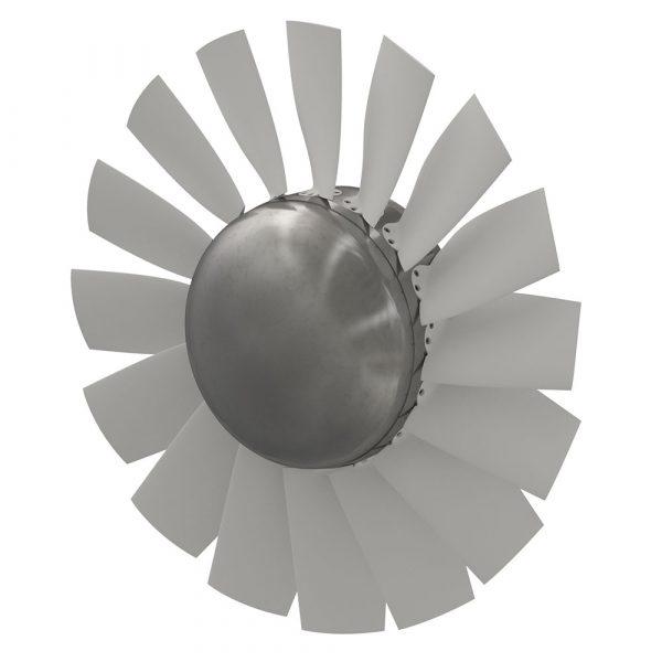 Axialfläktshjul med högeffektiva skovlar