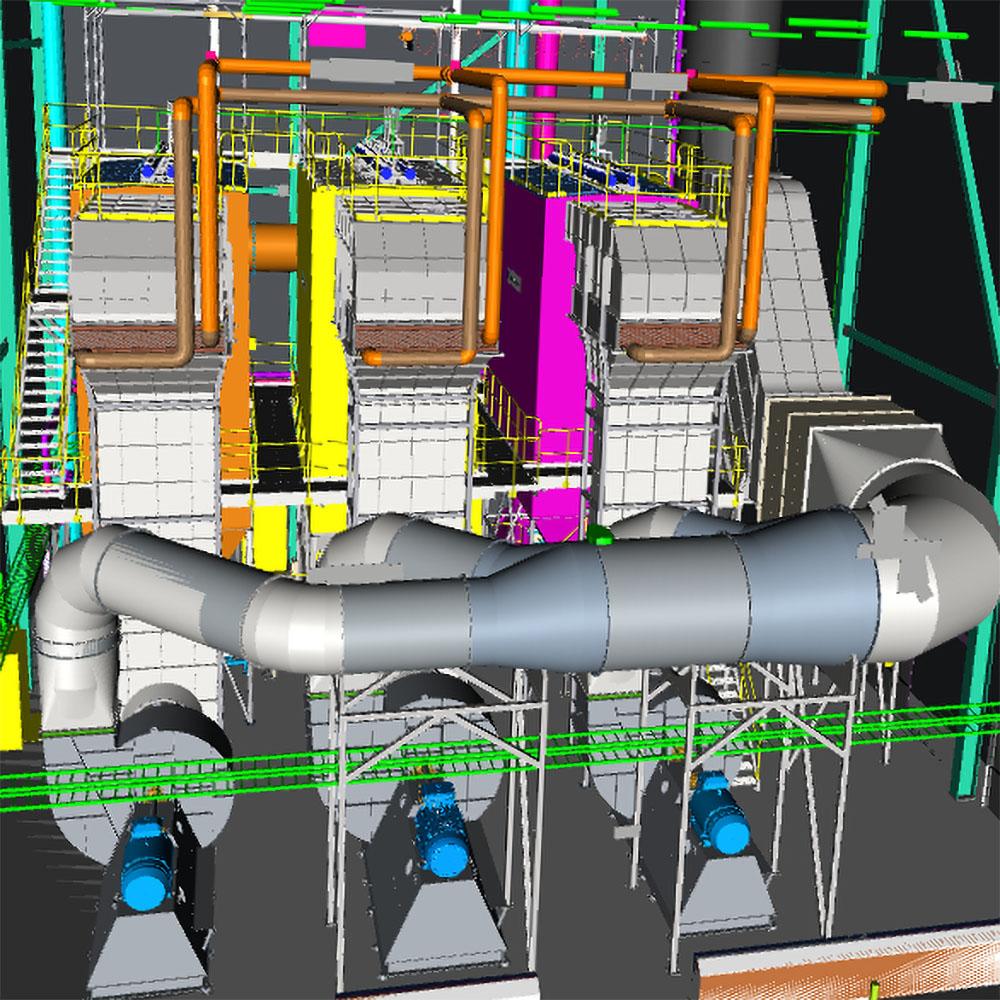 Projektering av filterhus i processindustri med tre filter, värmeväxlare, kanalsystem, fläktar, ljuddämpare och skorsten