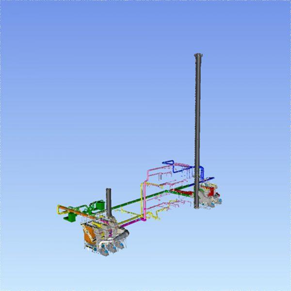 Komplett projekterat system med filter, kanalsystem, skorsten och övrig utrustning för en processindustri